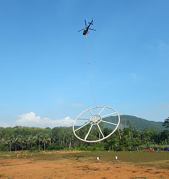 Helicopter taking off from base