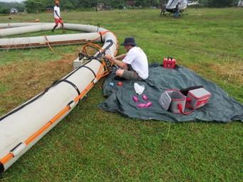 Crew preparing the Xcite system